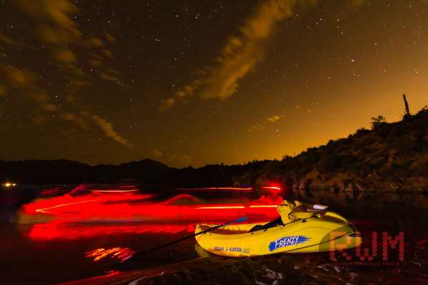 Kayak Bartlett Lake at night