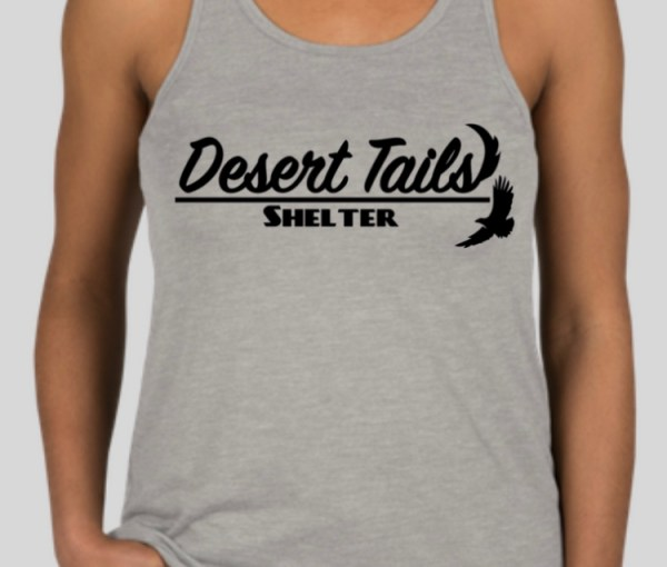 front of ladies' racerback tank top, grey with Desert Tails logo in black