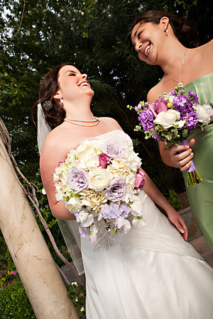 Bride and Bridesmaids' Garden-style bouquets