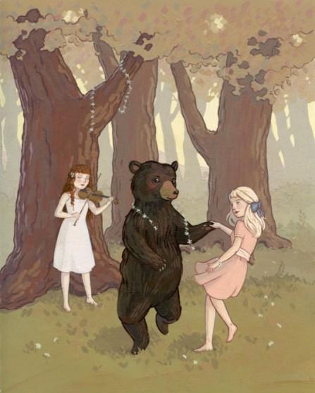 Illustration d'un nounours dans les bois...