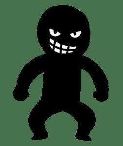 黒い人間のシルエットに、悪そうな犯人の顔が描かれたイラスト