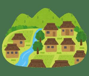 山、川、田んぼなど、たくさんの自然が残った昔ながらの日本の農村のイラスト