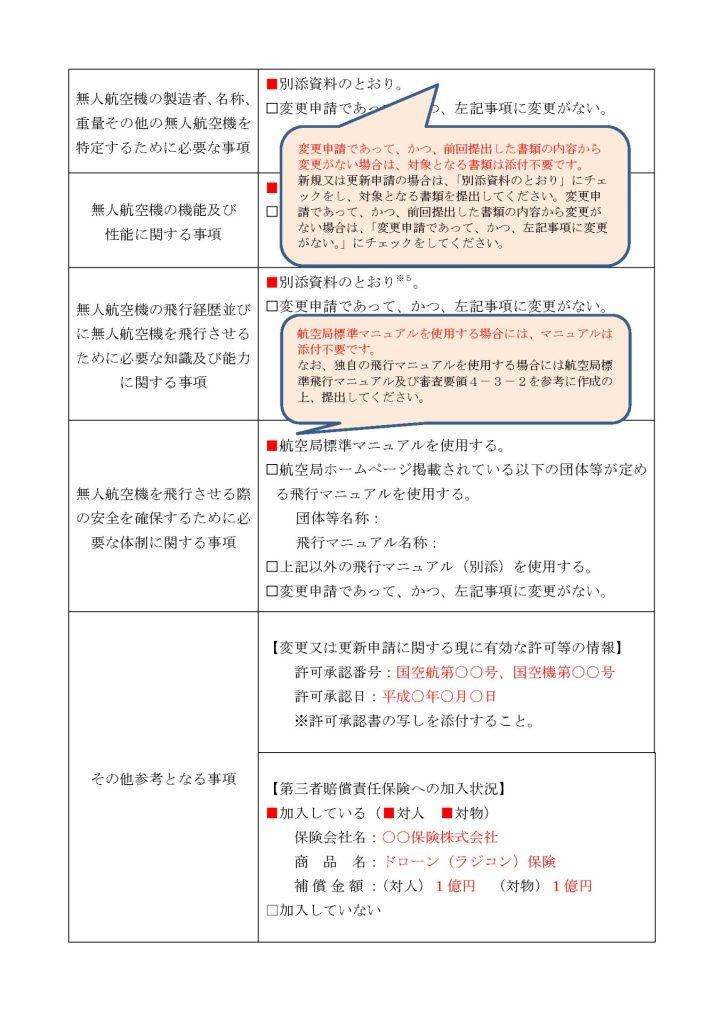 ドローン申請書 記入例 頭書2