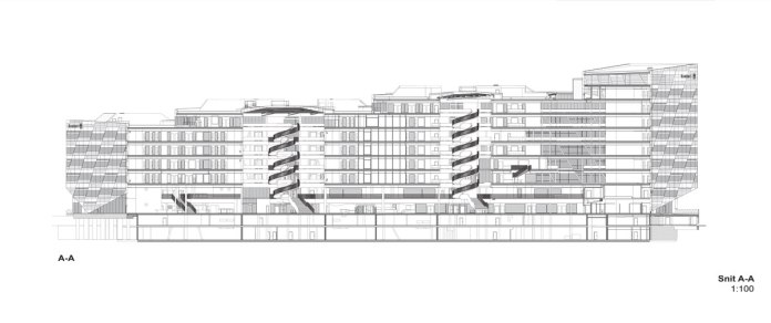 Sweedbank by 3XN - Section A-A