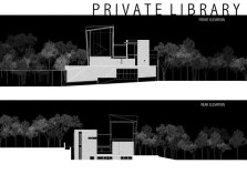 Private Library House by Unit One Design - Elevations