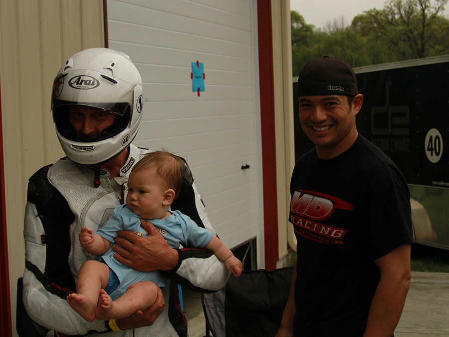 Racers are not like politicians unless they are holding babies.