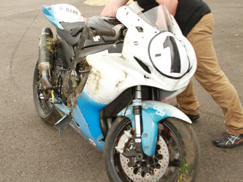 The Suzuki 600 after the two crashes in one race