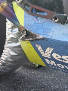 Bart took this photo of the GSXR 600 lower to show how much lean angle he was getting. Actually, the lower drooped and dragged on the race track to get that scrape but we will let Bart think he was scraping his lower.