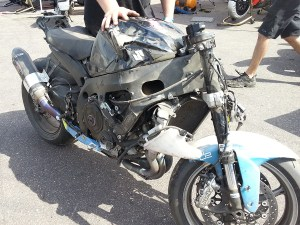 showing some of the damage from the T5 crash. Bart thinks he lost the rear accelerating too hard. See the video from Bart's youtube channel.