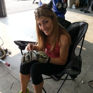 Sondra Ellingson sewing up the RS Taichi glove for the race weekend.  'Bout time for a new set!