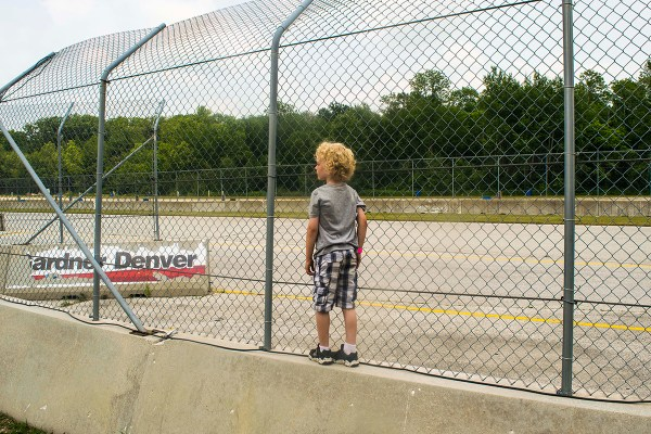 Hudson waiting at the end of the long straight at Road America waiting for Bart to come around in one of 11 races.