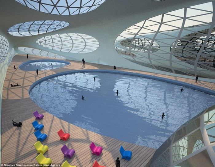 A pool would be one of the many amenities featured at the MORPHtel. Image via DailyMail