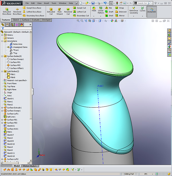 febreze Bottle Design using Solidworks Surfacing