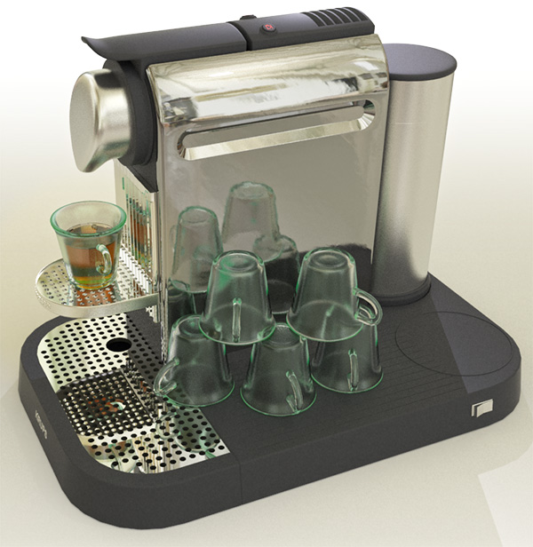 Espresso Machine render of Glass using Alias Design