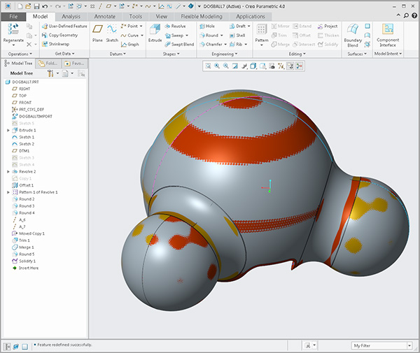 dog ball import was converted to a parametric model