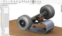 Solidworks top down design exercise . Replace standard trucks with spring steel version.