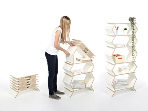 Stockwerk Foldable Bookcase   Design Milk foldable collapsible bookshelf three