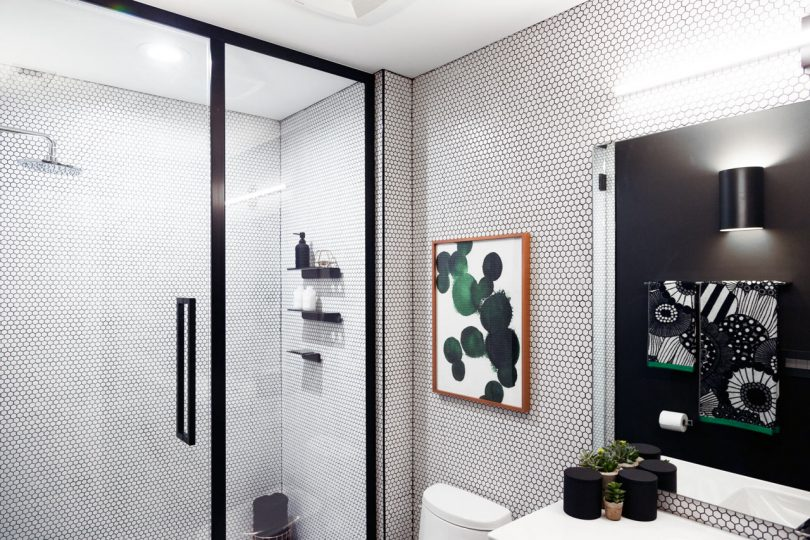 Basic Bathroom Gets a Graphic, Modern Renovation