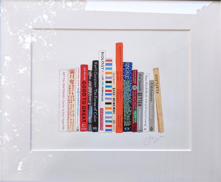 Painting by Jane Mount of 10 books that are my favorites.