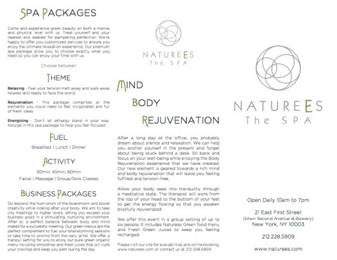 Naturees (Menu-The Spa)