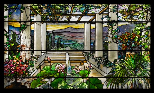 "Tiffany Studios, ""Garden landscape window,"" 1900-10. Photo: John Faier, © The Richard H. Driehaus Museum."