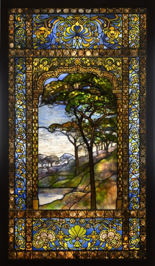 "Tiffany Studios, ""Landscape window,"" 1893-1920. Photo: John Faier, © The Richard H. Driehaus Museum."