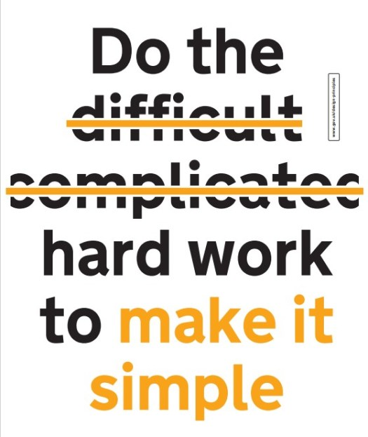 """Poster that reads """"Do the difficult complicated hard work to make it simple"""" with the words 'difficult' and 'complicated' crossed out."""