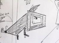 Letter D: demonic dog sketch