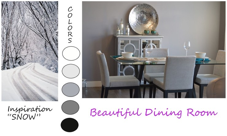 Shows how to use nature for room color inspiration. Room inspired by snow.