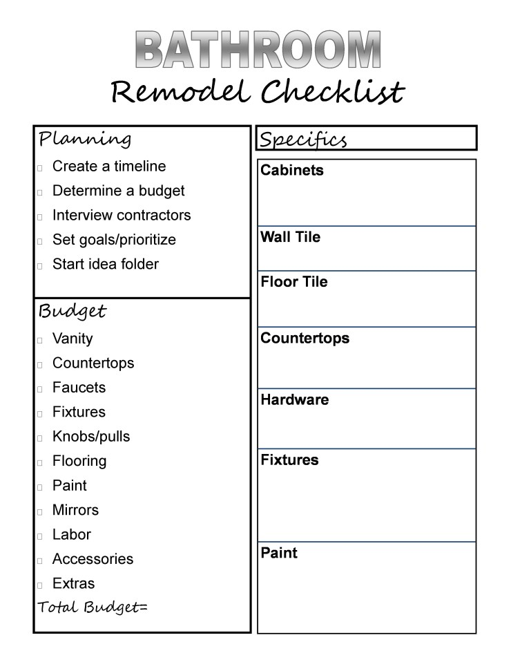 Form with a checklist for a bathroom remodel