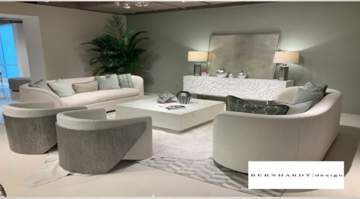 Curved furniture in living room showing 2020 furniture trends