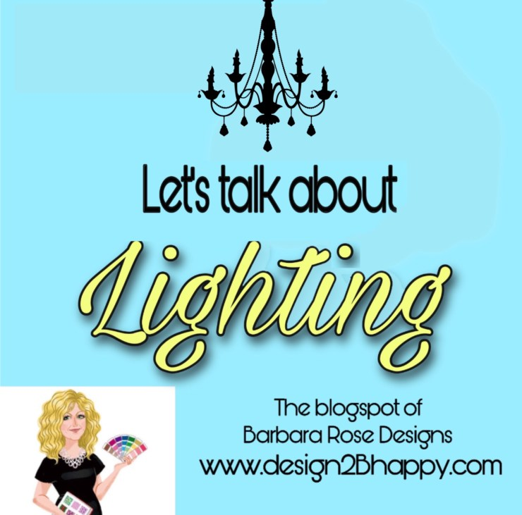 """CARTOON DESIGNER WITH CHANDALIER.  Texts says,""""lets talk about lighting."""""""