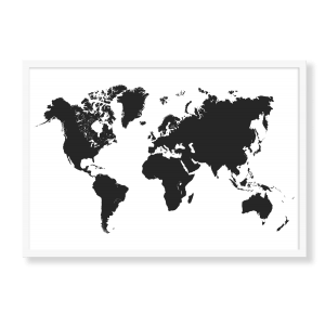 Sort verdenskort på hvid baggrund