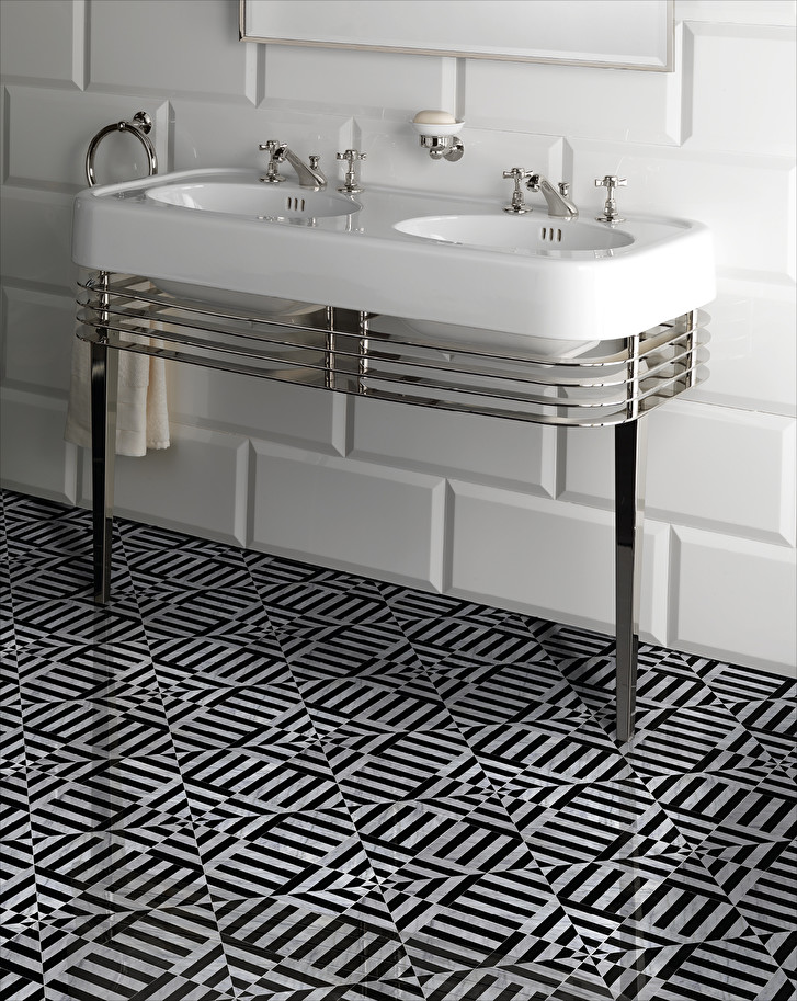 black and white mosaic flooring in marble