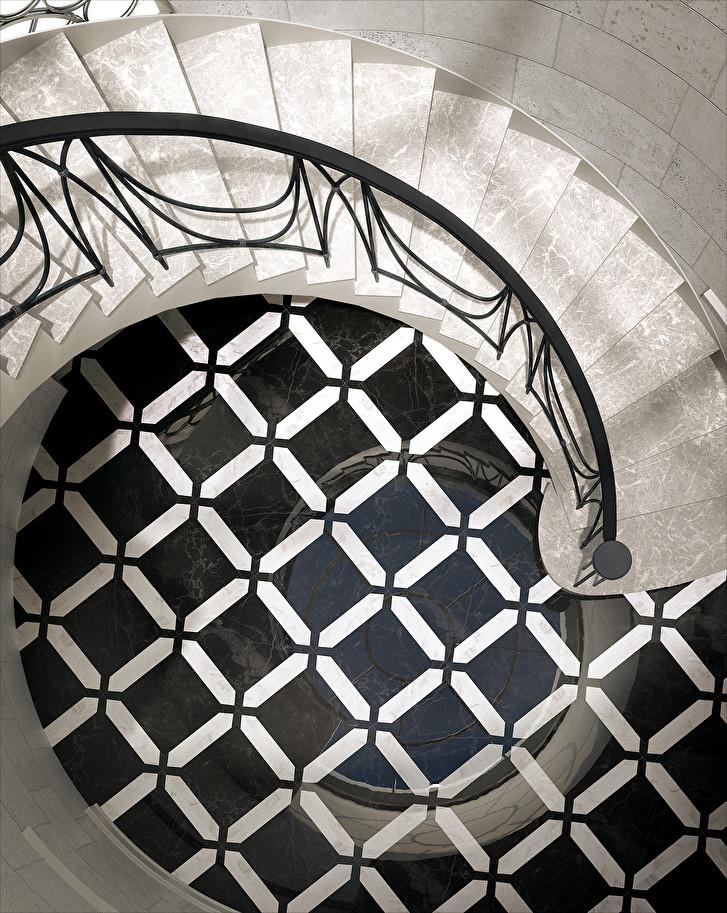 stairwell flooring mosaic pattern marble flooring