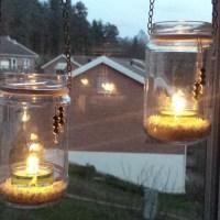 DIY: Ljuslykta av glasburkar / Candle Lantern