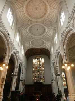 The fan vaulted ceiling of St Mary Aldermary