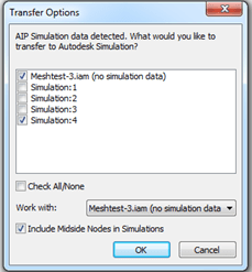 Autodesk Inventor Send to Simulation Options