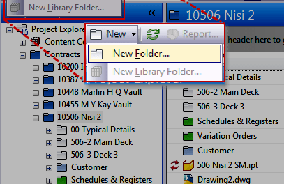 Autodesk Vault | Vault UI – New Folder