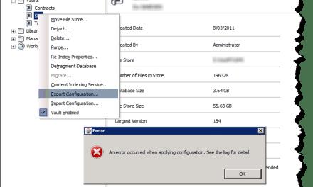 Vault | Export config from ADMS error