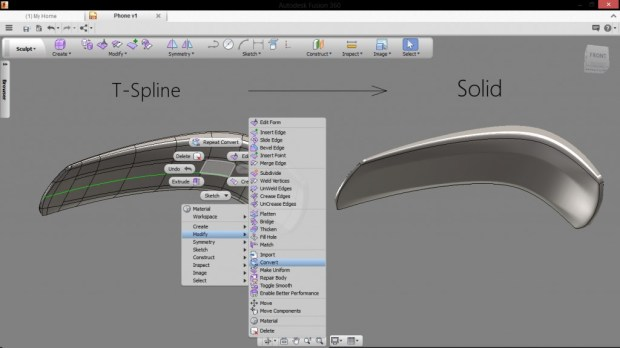 Wrist phone design using autodesk fusion 360 part 2 for T spline architecture