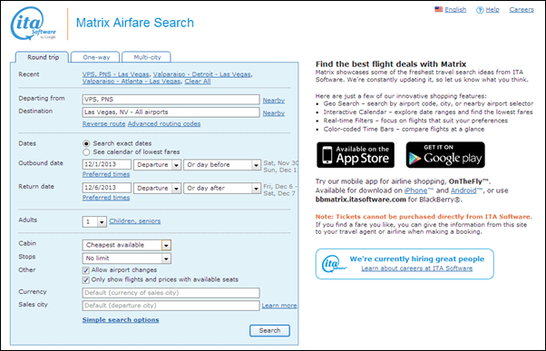 ITA Software by Google Matrix Airfare Search FREE