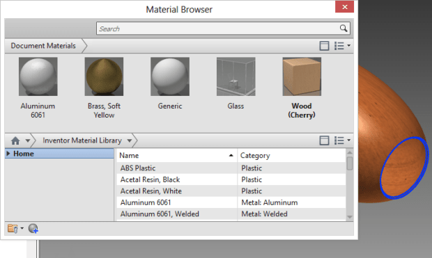 Inventor | Materials Editor Navigation