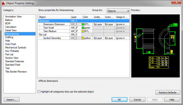 AutoCAD Mechanical Object Properties