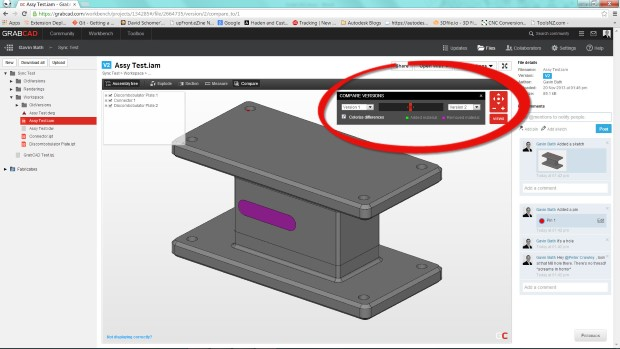 GrabCAD Workbench version compare shows material removed (in purple) in web app.
