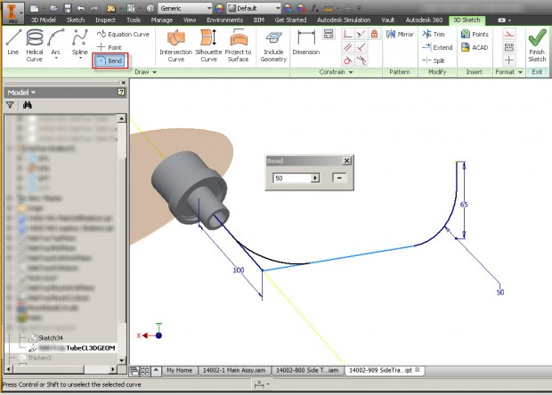 Autodesk Inventor 3D Sketch Bend Geometry