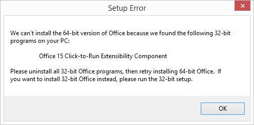 Office 2013 32 bit 64 bit installation error