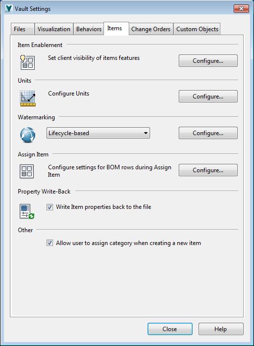 Vault 2015 R2 Item Admin Dialog from Vault Help