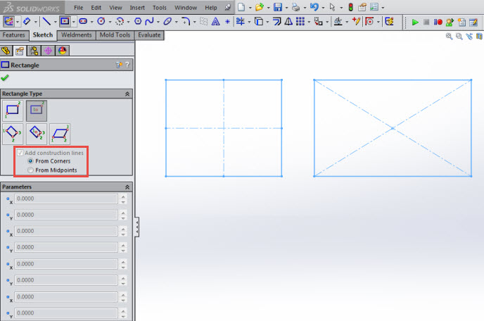 SolidWorks 2015 rectangles