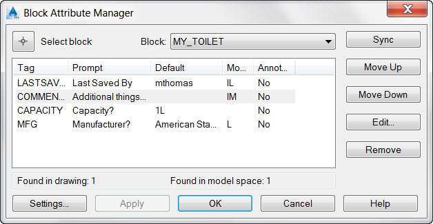 AutoCAD Block Attribute Manager